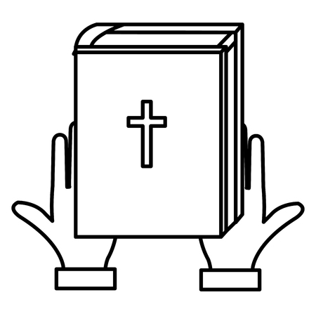 hands with holy bible vector illustration design  イラスト・ベクター素材