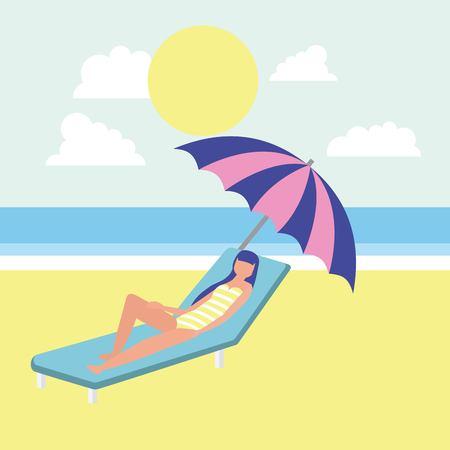 summer time girl enjoying sun lying down umbrella sea vector illustration