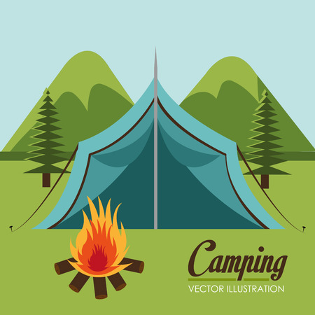 camping zone with tent scene vector illustration design Illustration
