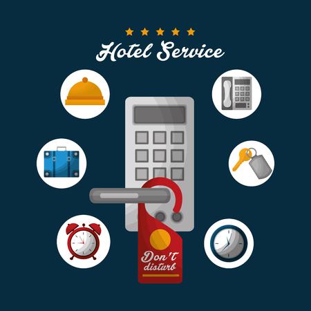 hotel building code digital security do not disturb clock key suit bag vector illustration