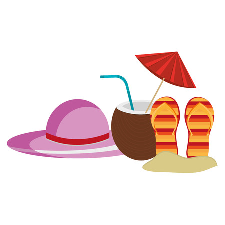 tropical coconut cocktail with hat and flip flops vector illustration design