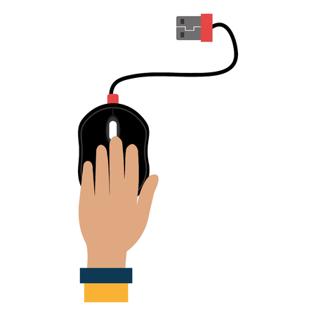 hand with computer mouse vector illustration design Stock Illustratie