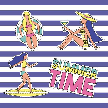 summer time vacations girls riding surf table sitting drinking lying down float vector illustration
