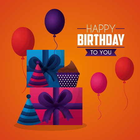 happy birthday card sign celebration gift boxes baloons vector illustration