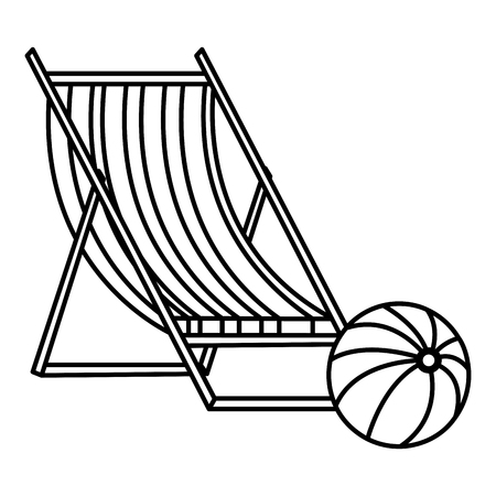 wooden beach chair with balloon vector illustration design