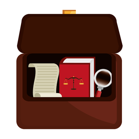 portfolio with justice book and magnifying glass vector illustration design