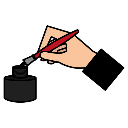 hand writing with fountain pen vector illustration design