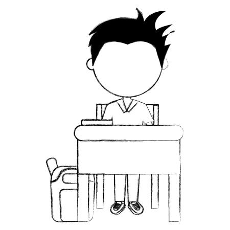 student boy with desk and schoolbag character vector illustration design Illustration