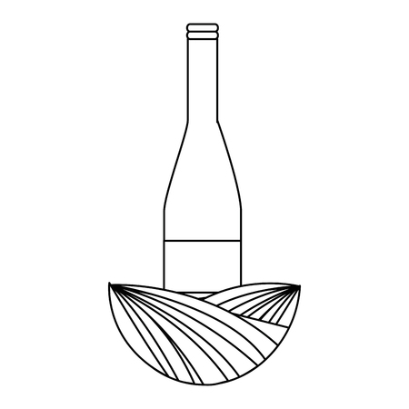 wine bottle silhouette with leafs vector illustration design