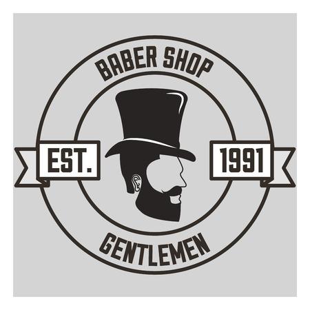 baber shop gentleman est sticker bearded man on the side hat vector illustration