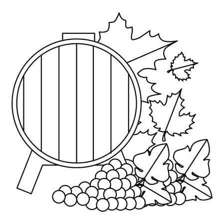 wine barrel with grapes cluster vector illustration design