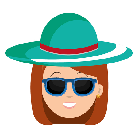 head woman with hat and sunglasses vector illustration design