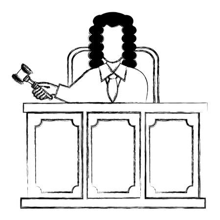 justice judge on stage character vector illustration design Ilustração