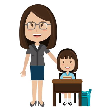 woman teacher with girl in chair vector illustration design Иллюстрация