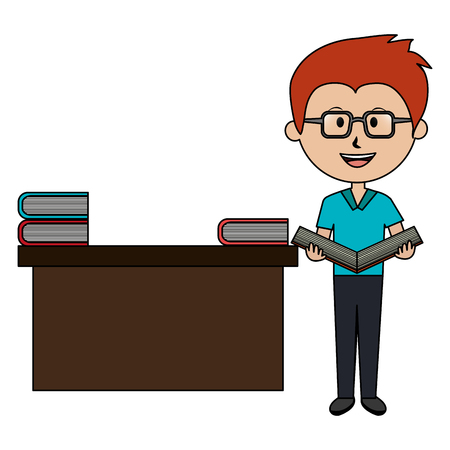man teacher with desk and books avatar character vector illustration design