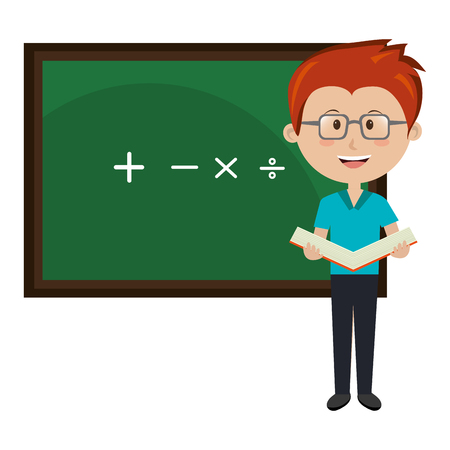 man teacher iwith chalkboard avatar character vector illustration design Ilustracja