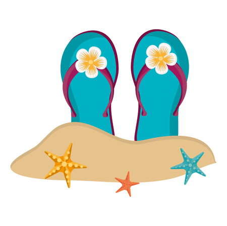 flip flops on the beach vector illustration design