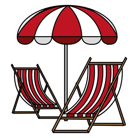 wooden beach chair with umbrella vector illustration design