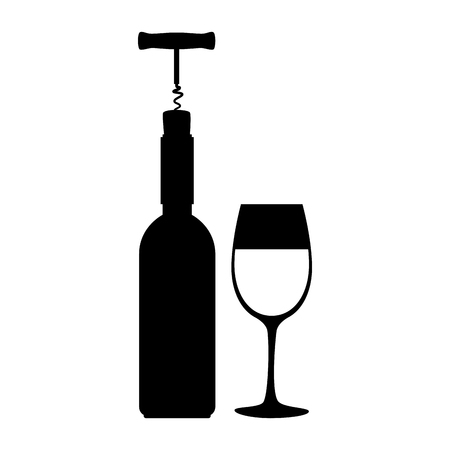 wine bottle silhouette with corkscrew and cup vector illustration design