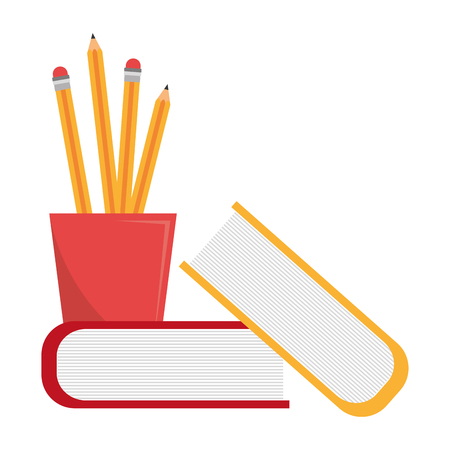 pencil holders with books vector illustration design Illusztráció