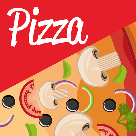 delicious italian pizza ingredients vector illustration design