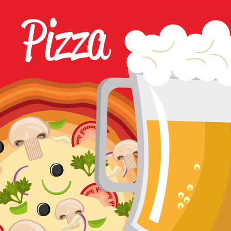 delicious italian pizza with beer vector illustration design
