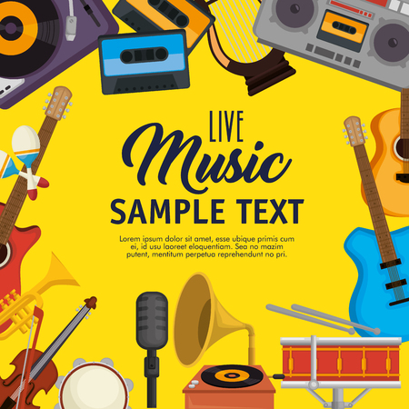 set musical instruments icons vector illustration design Çizim