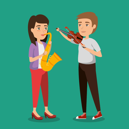 musician couple in concert vector illustration design