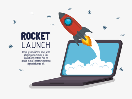laptop with launcher rocket vector illustration design