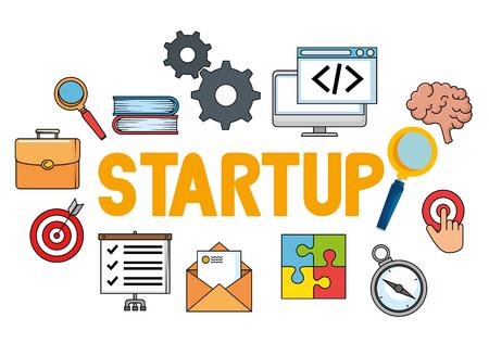 start up business set icons vector illustration design Standard-Bild - 114844010