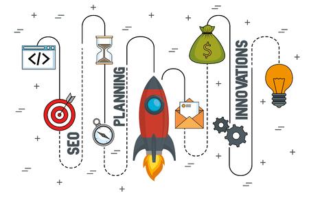 start up business set icons vector illustration design