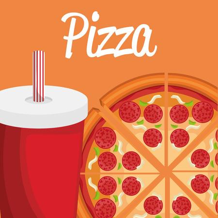 delicious italian pizza with soda vector illustration design Imagens - 105145481