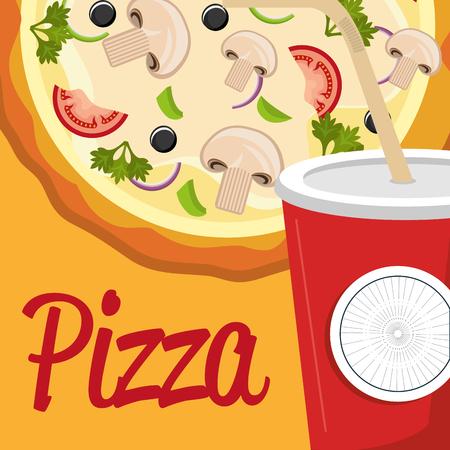 delicious italian pizza with soda vector illustration design Imagens - 104944201