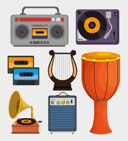 Set Musikinstrumenten Ikonen Vektor-Illustration Design Vektorgrafik