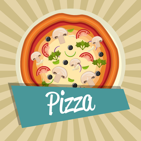 delicious italian pizza label vector illustration design