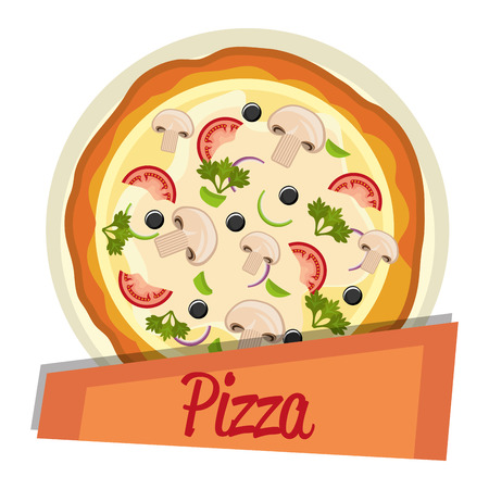 delicious italian pizza label vector illustration design Banco de Imagens - 104913748