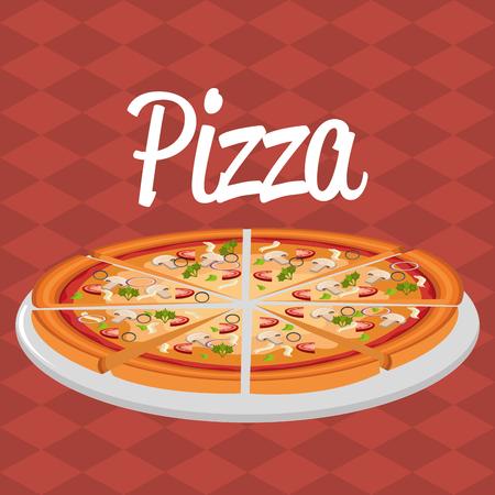 delicious italian pizza label vector illustration design Banco de Imagens - 104913749