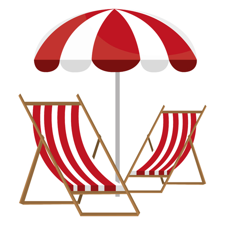 wooden beach chair with umbrella vector illustration design Banco de Imagens - 114939615