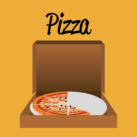 delicious italian pizza in carton box vector illustration design