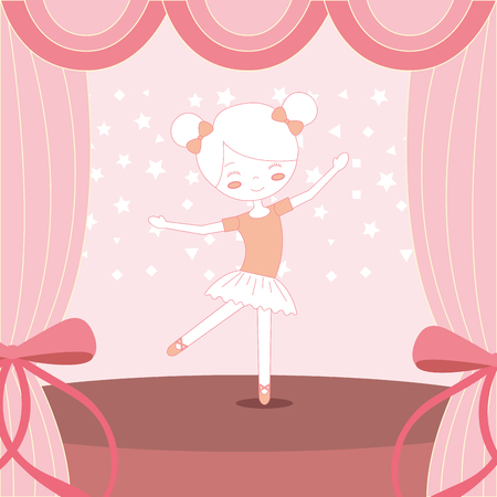 beautiful ballerina ballet on stage vector illustration