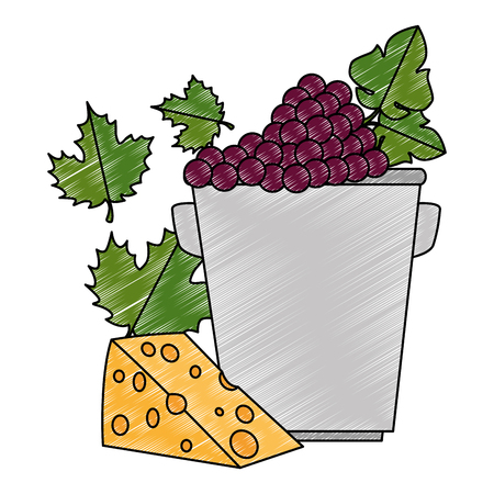 bucket with grapes cluster and cheese vector illustration design 向量圖像