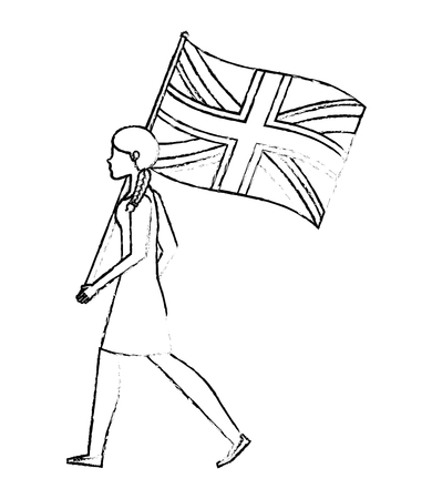 woman walking with united kingdom flag vector illustration vector illustration Ilustrace