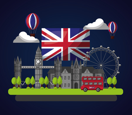 united kingdom country flag night clouds hot air balloons london brigde wheel double decker vector illustration