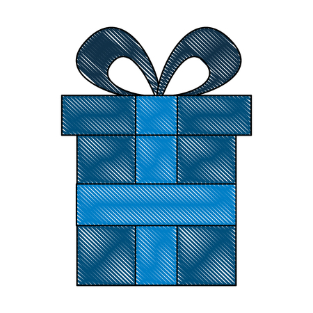 wrapped decorative gift box with bow ribbon vector illustration