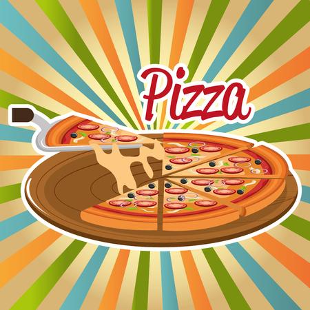delicious italian pizza in carton tray vector illustration design Illustration