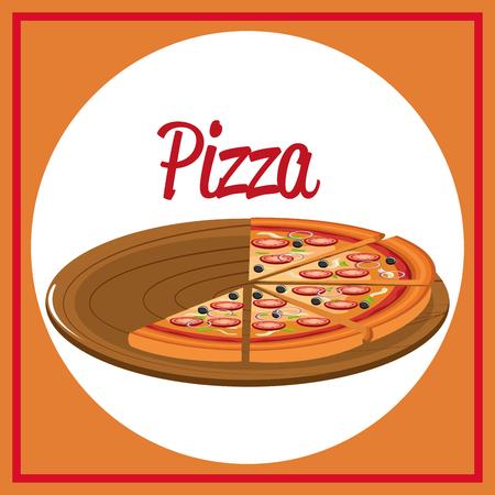 delicious italian pizza in carton tray vector illustration design Imagens - 104983032