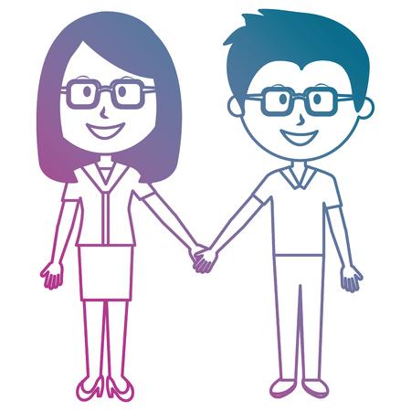 teacher couple avatars characters vector illustration design