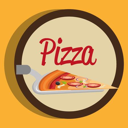 delicious italian pizza portion in spatula vector illustration design