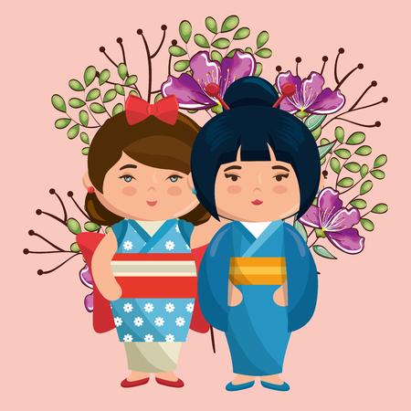 little japanese couple girls kawaii with flowers characters vector illustration