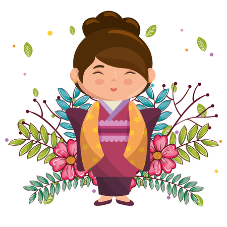 little japanese girl kawaii with flowers character vector illustration design